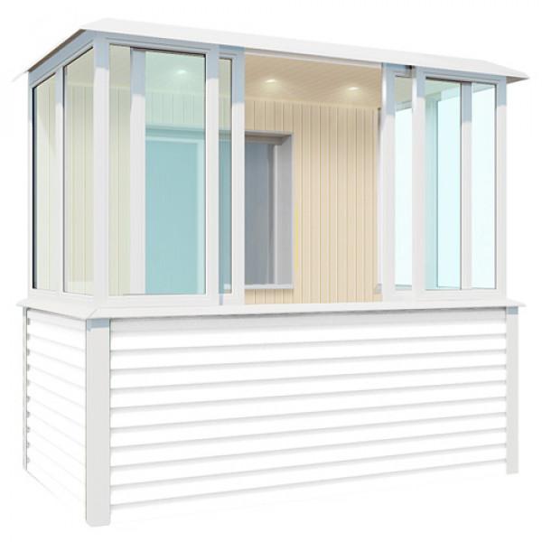 Наружная отделка синего балкона шириной 3.1 метра