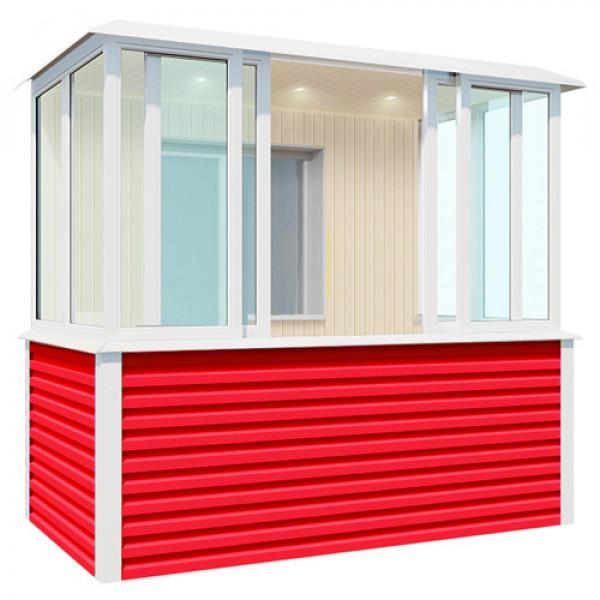 Внутренняя отделка красного балкона шириной 2,7 метра