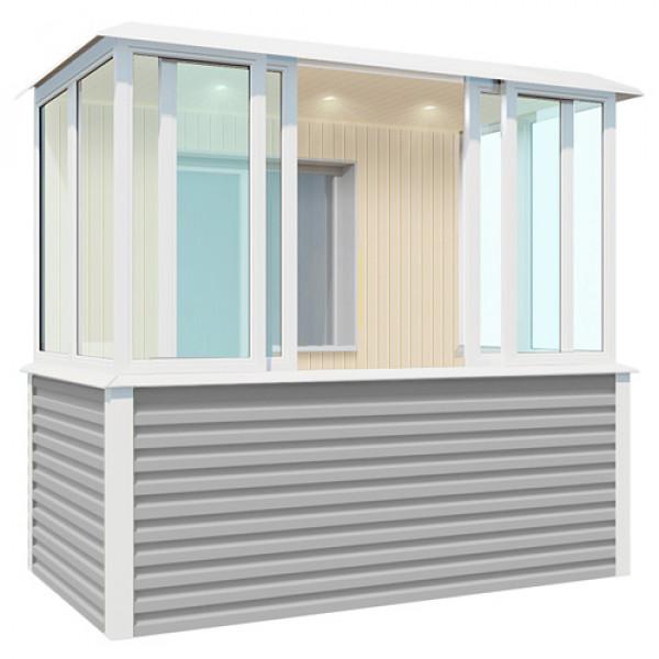 Внутренняя отделка серого балкона шириной 2,7 метра