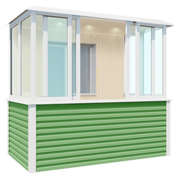 Внутренняя отделка зеленого балкона шириной 2,7 метра
