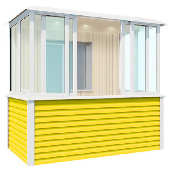 Внутренняя отделка желтого балкона шириной 2,7 метра
